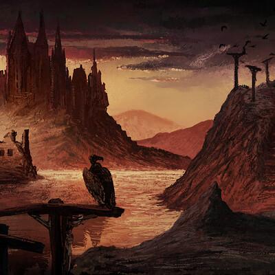 Gregory nunkovics dark fantasy landscape