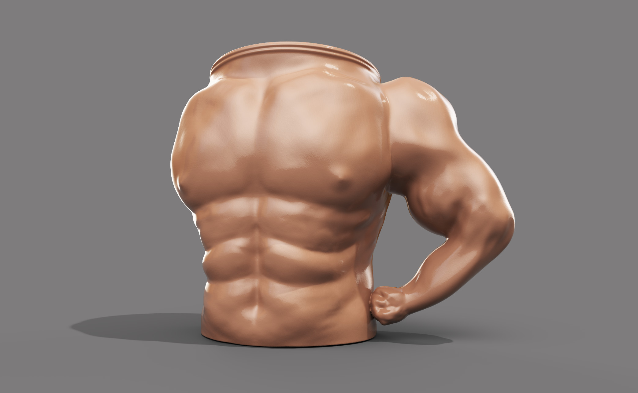 Final render of the Muscle Mug using iRay and composited in Photoshop. The mug is meant to hit that uncanny valley to throw off the player when they discover the prop.