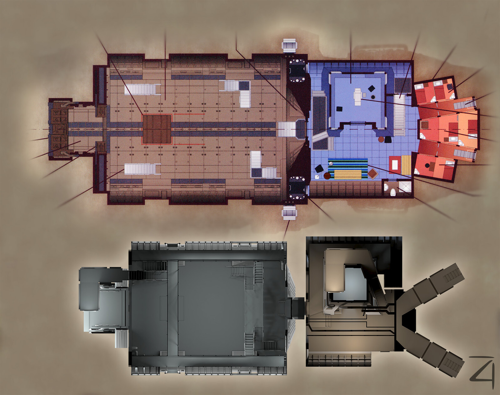 From what I could tell, the Quantum Mechanix blueprints I'm comparing to here used the cargo hold pretty much as-is, except they scaled it up, so the real one is a bit smaller. The lounge is much different and is a weird design.