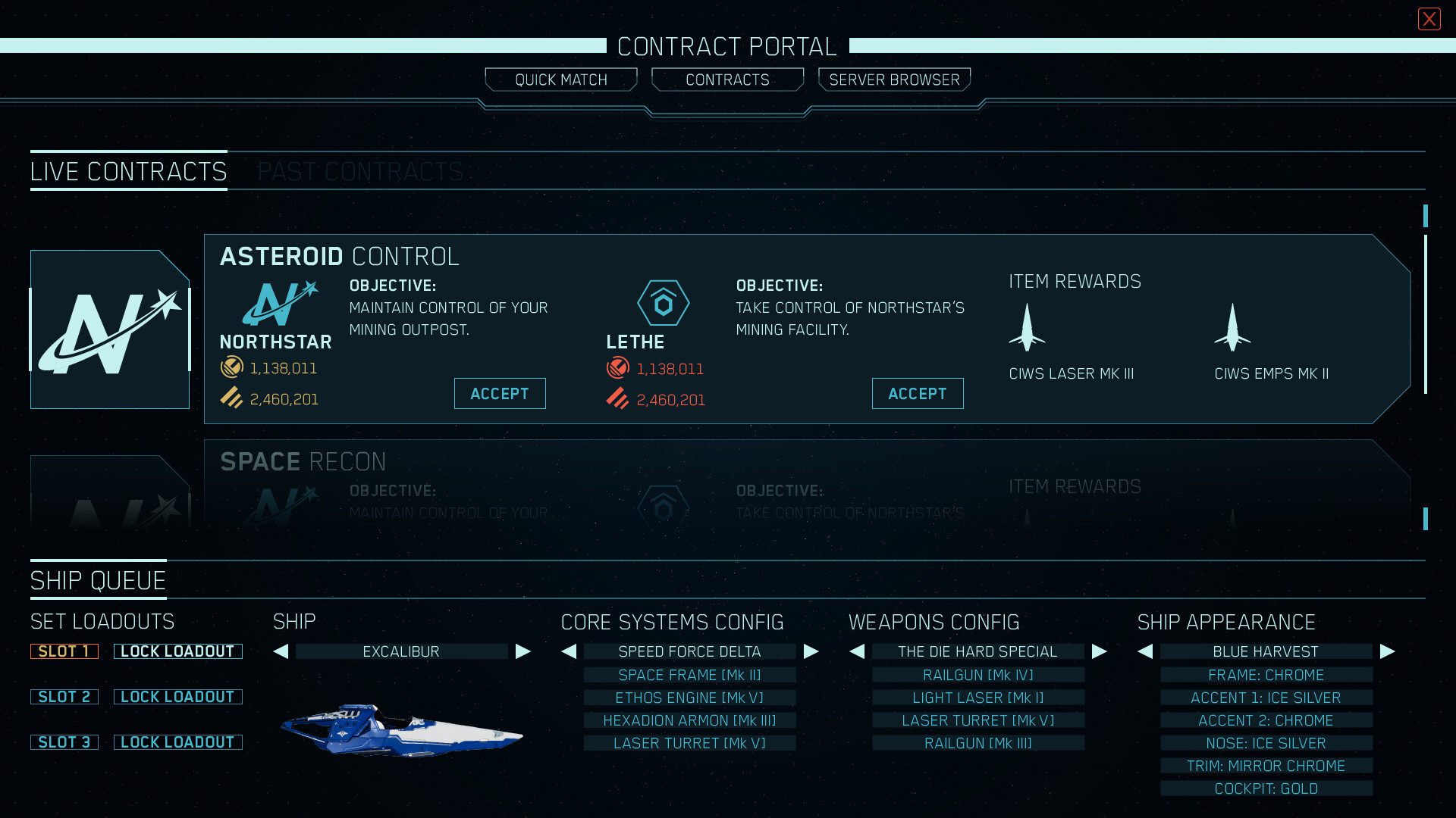 An alternate contract portal design. This one had a lot of negative space that wasn't being utilized well, and there was just more info we wanted available for the ship queue section, so it was redesigned as a vertical module.