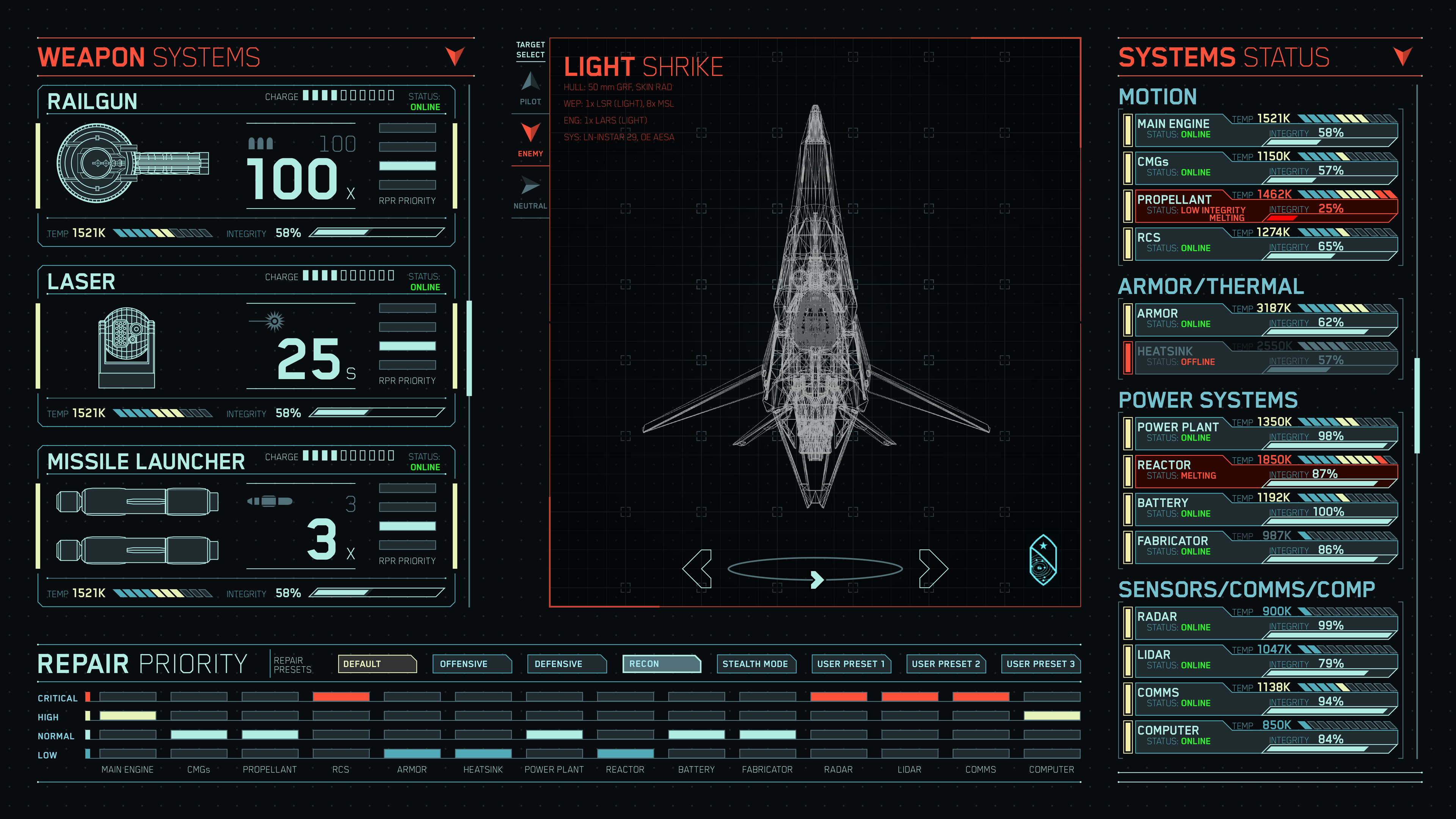 An example of viewing an enemy's systems status. Pilots with the right equipment and scanning level could access enemy ship's systems status and see their strengths/weaknesses.