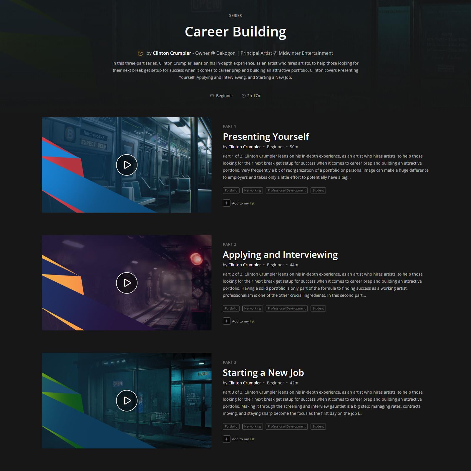 https://www.artstation.com/learning/series/lZ/career-building