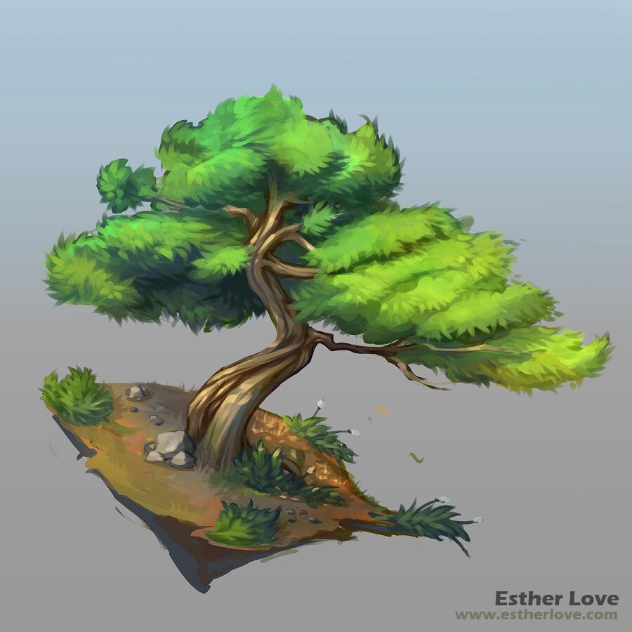 Stylized 2.5D Juniper Tree