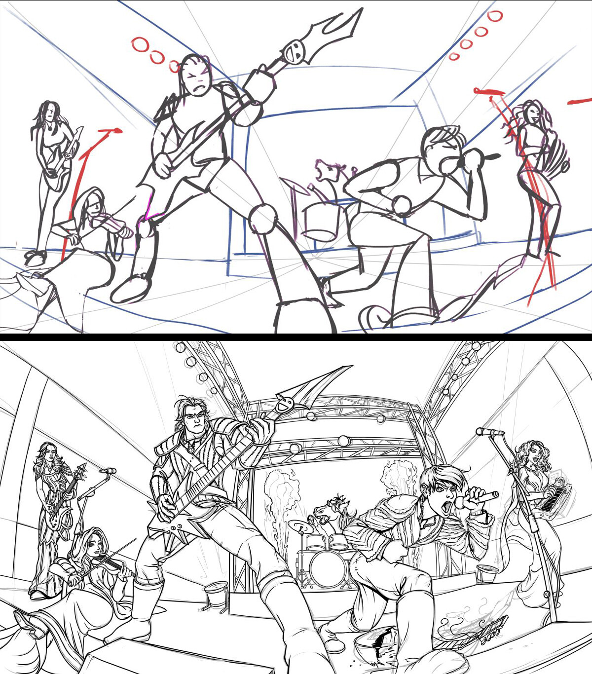 Rough sketch and lineart progress