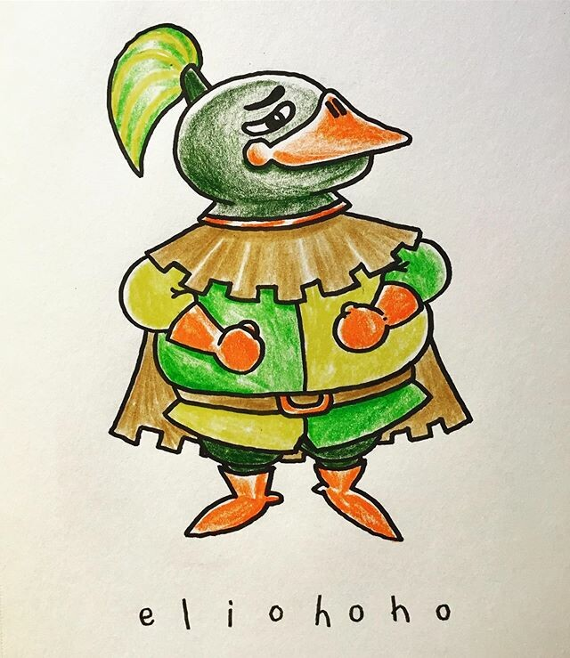 🦆⚔️ This snarky, bulky duck knight is the mascot of a western-europe medieval themed park in Japan. ⚔️🦆