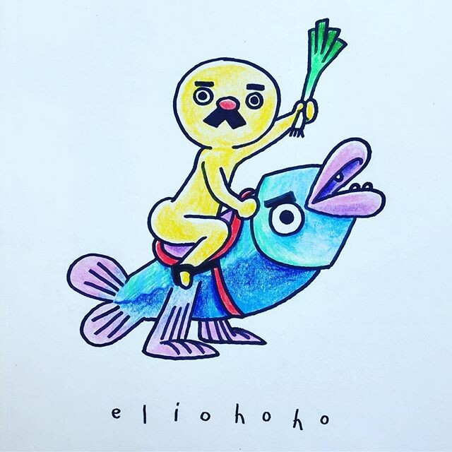 🐟👴🏽A mascot that has to represent both biodiversity and local gastronomy can only be a golden naked man and his fish steed.🥦🐠