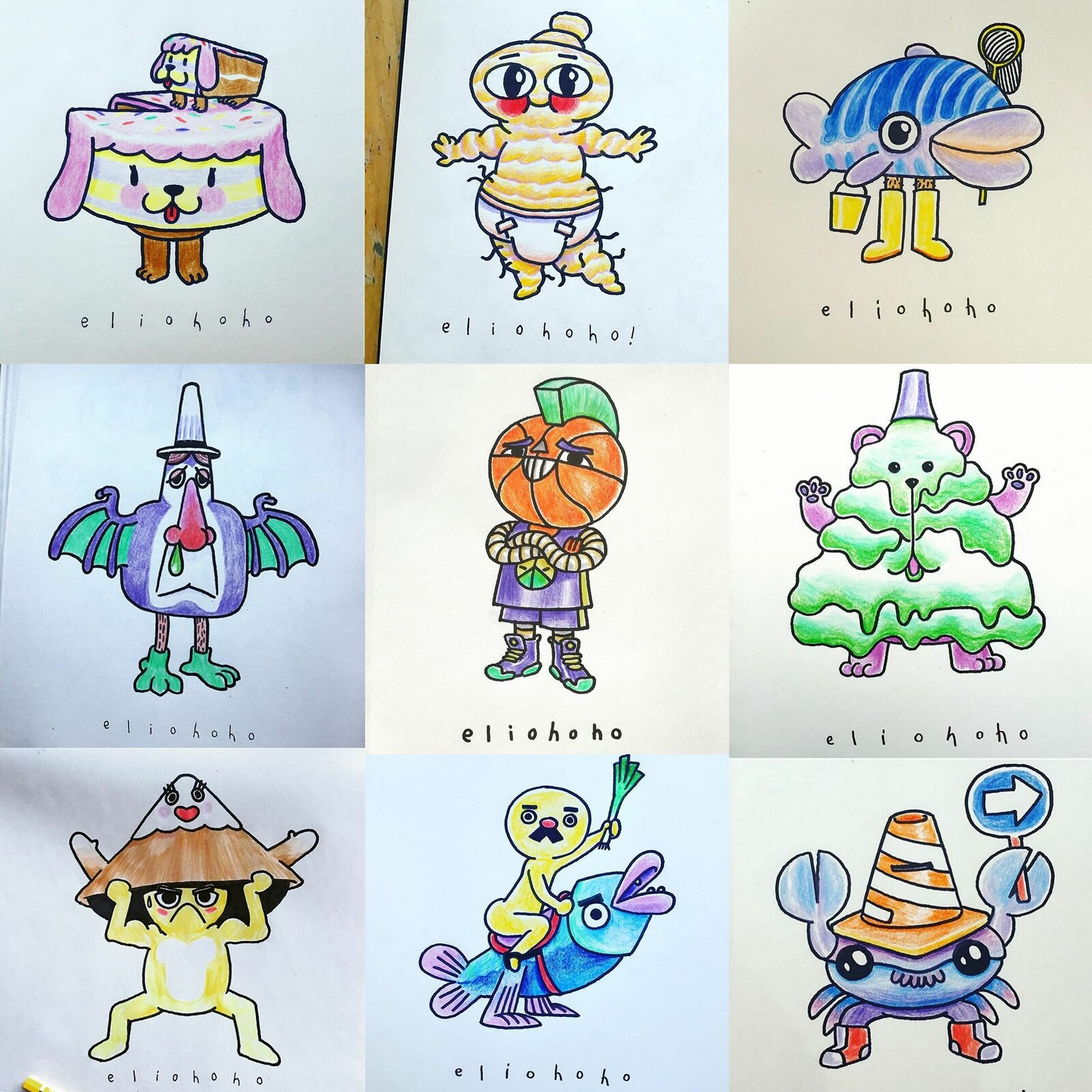Japanese Mascots from my 2019 Inktober