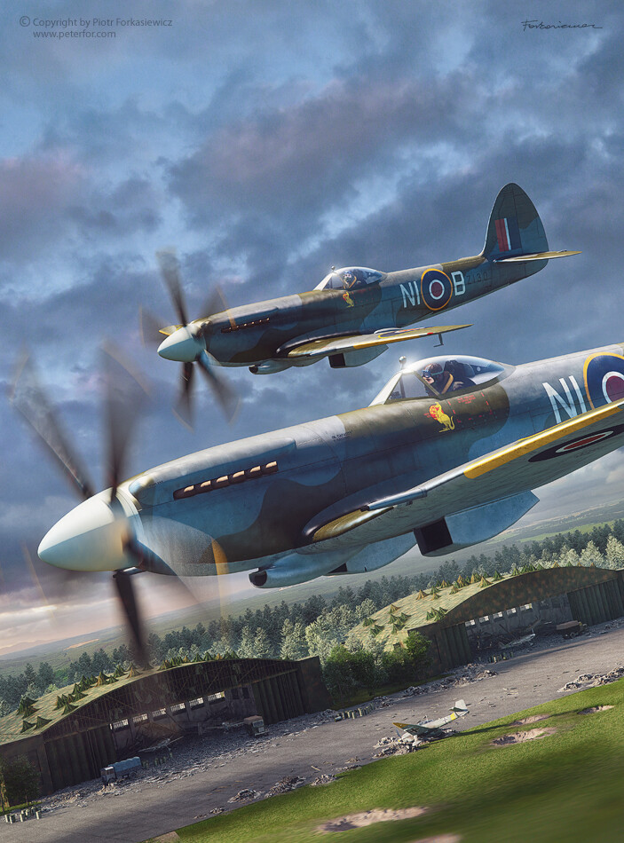 Australian Spitfires over german airfield