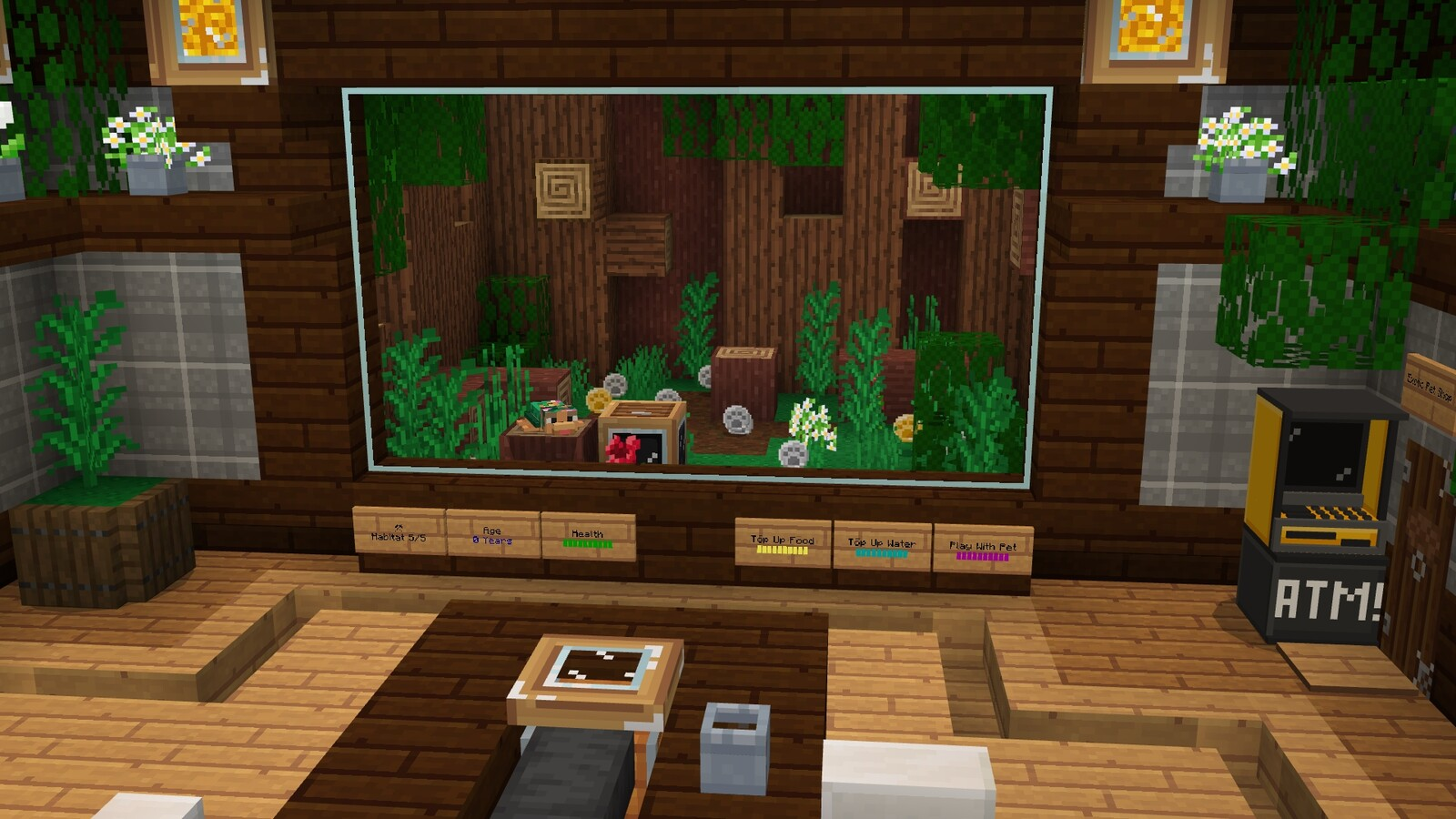 Cute grass pet sitting on the tree log. Coins ready to be collected and an ATM for your transactions!
