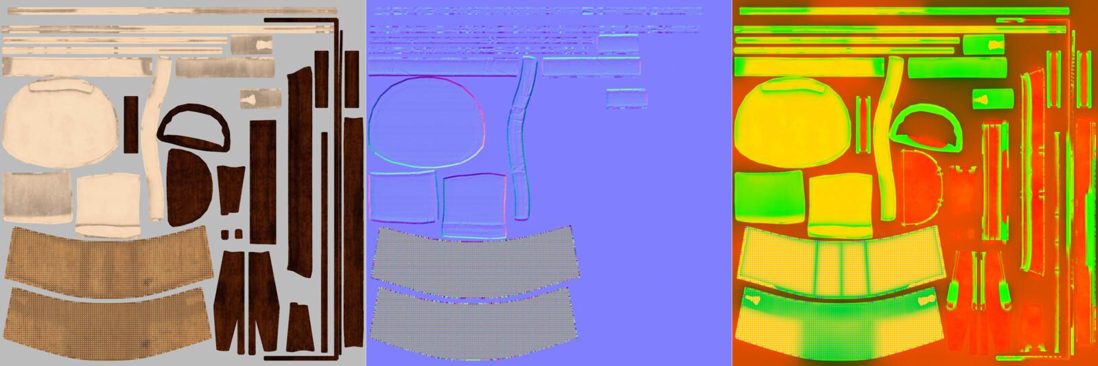 Base Colour / Normals / AO+Roughness+Opacity maps
