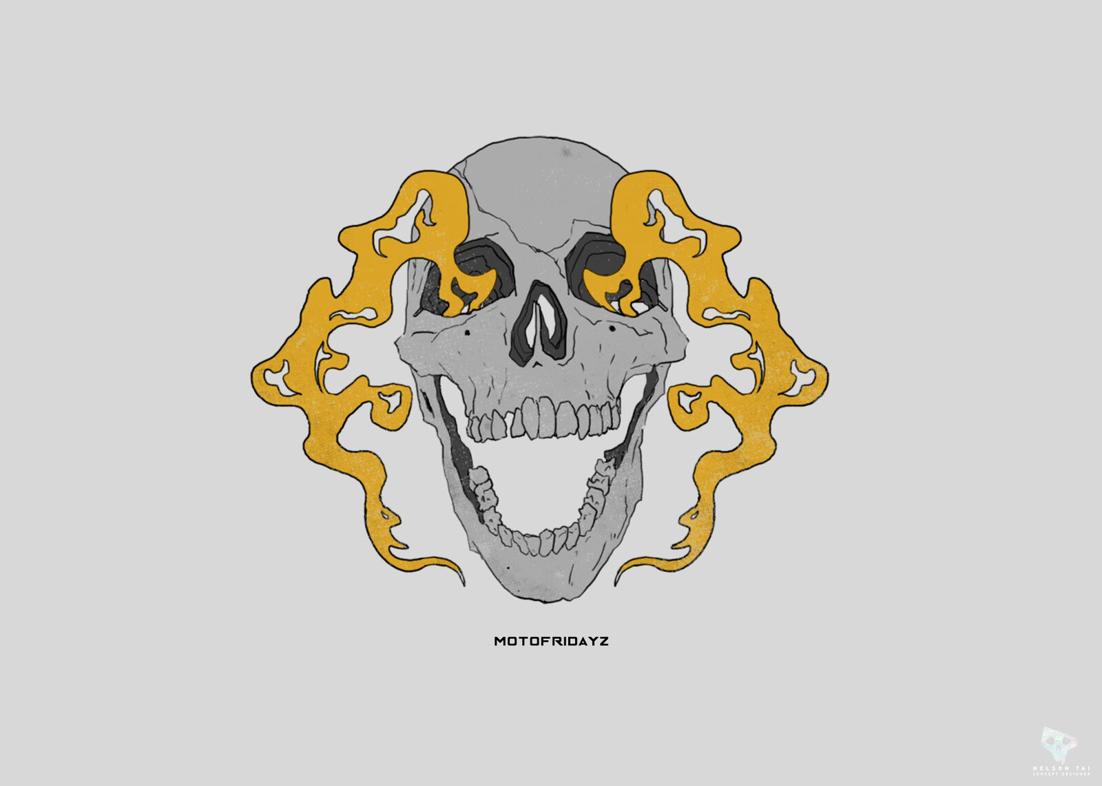 motofridayz smokin skull graphic