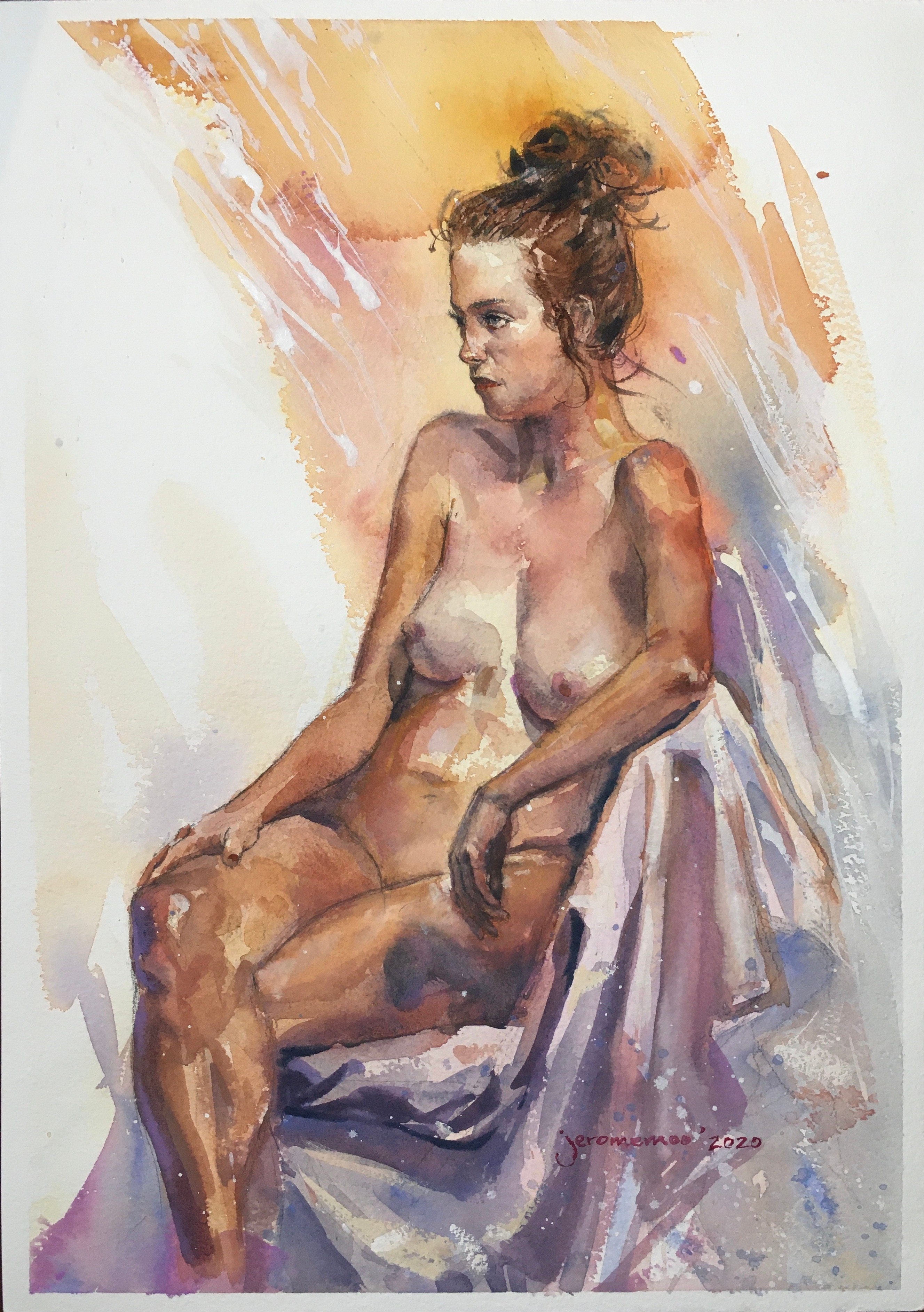 Long Pose Life Drawing of Honour  Watercolour on 42x29.7cm 300gsm Rough Arches Watercolour Paper