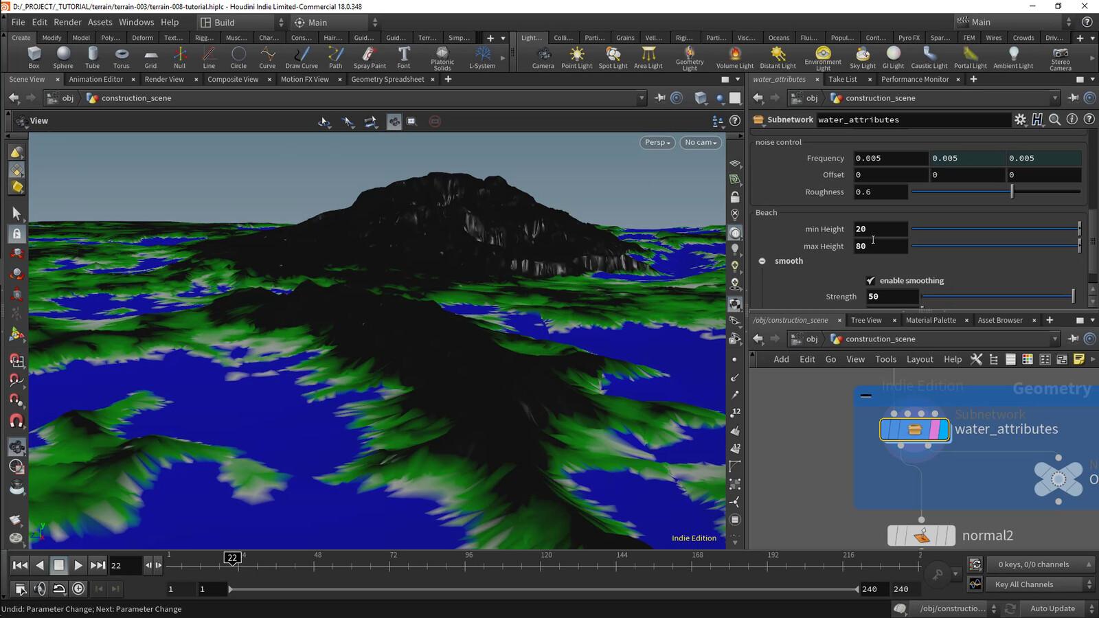 "Screenshot AL_water_attributes tool development, generate ""beach"", ""wetness"" based on water level."
