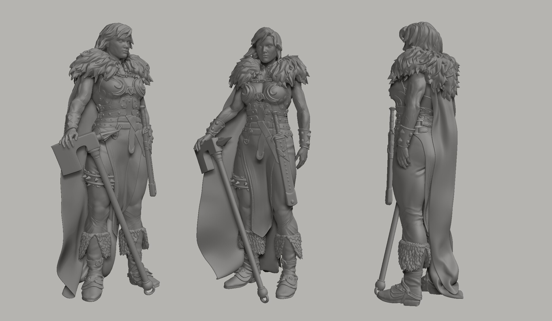Clay render of the posed character (ZBrush)