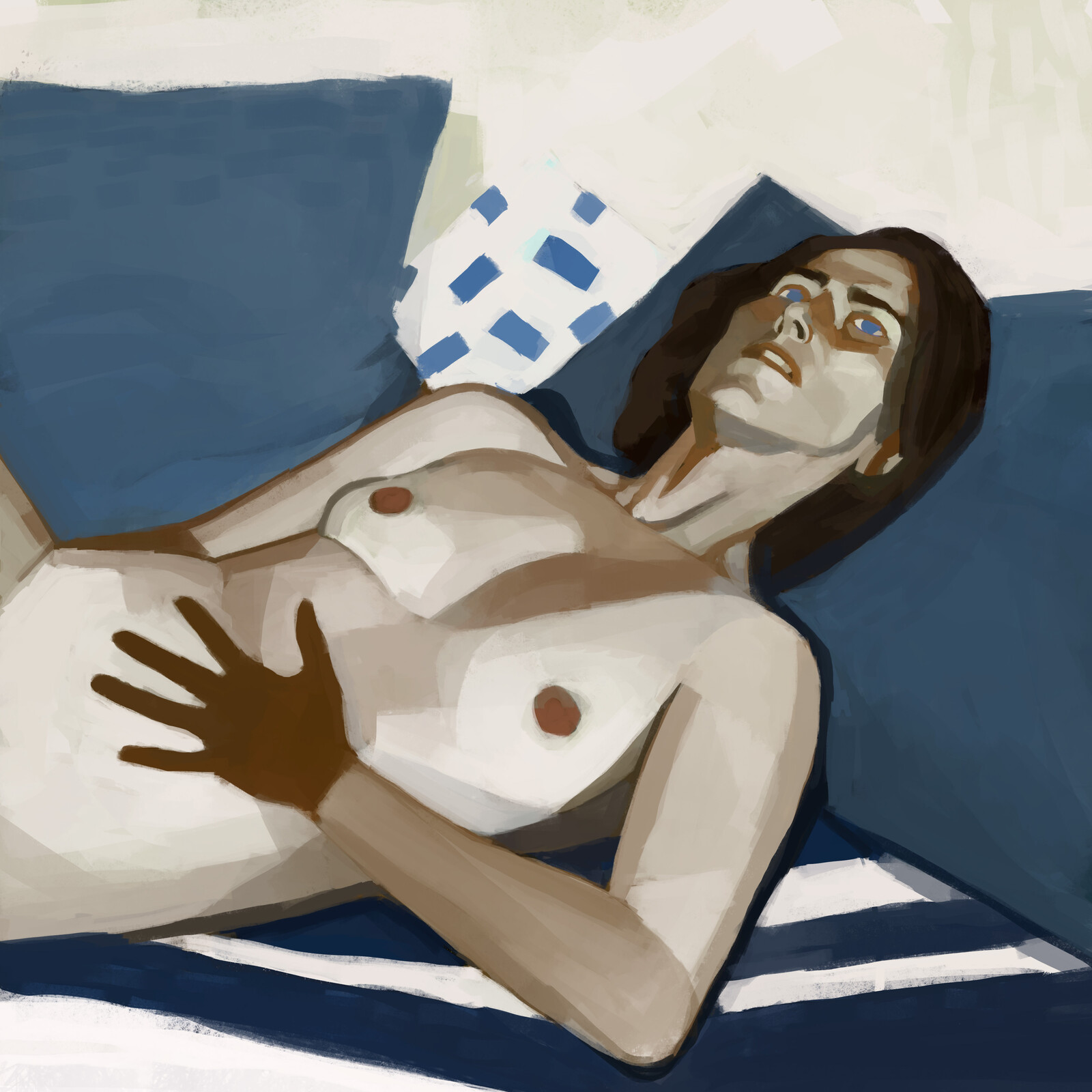 Nude on bed.