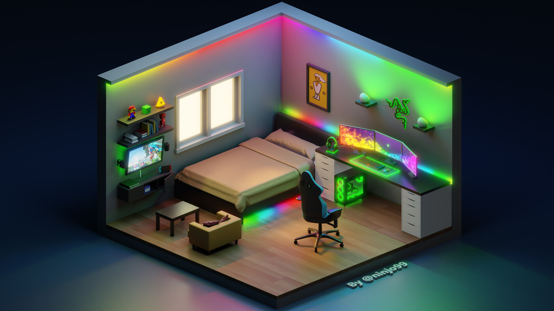 Artstation 3d Gaming Isometric Room Razer Themed Jose Alvarez