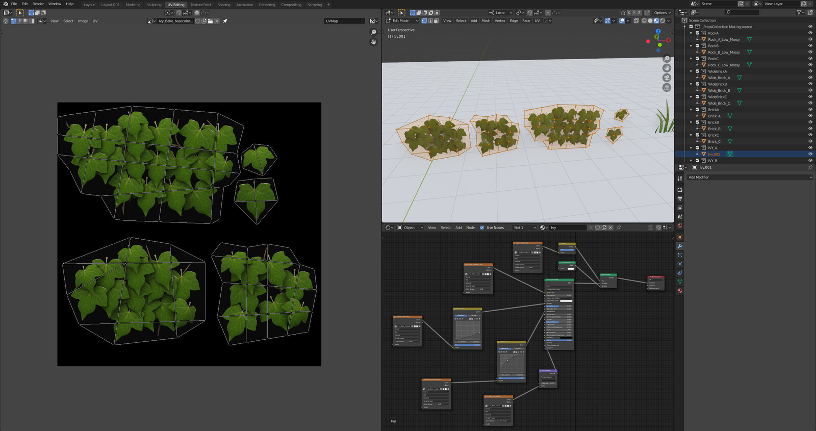 Enchanted project Working Progress Assets Ivy UV, Material, Color Map