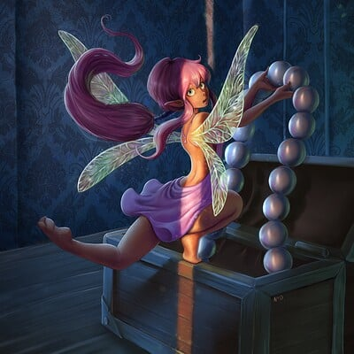 Faerie stealing a pearl necklace