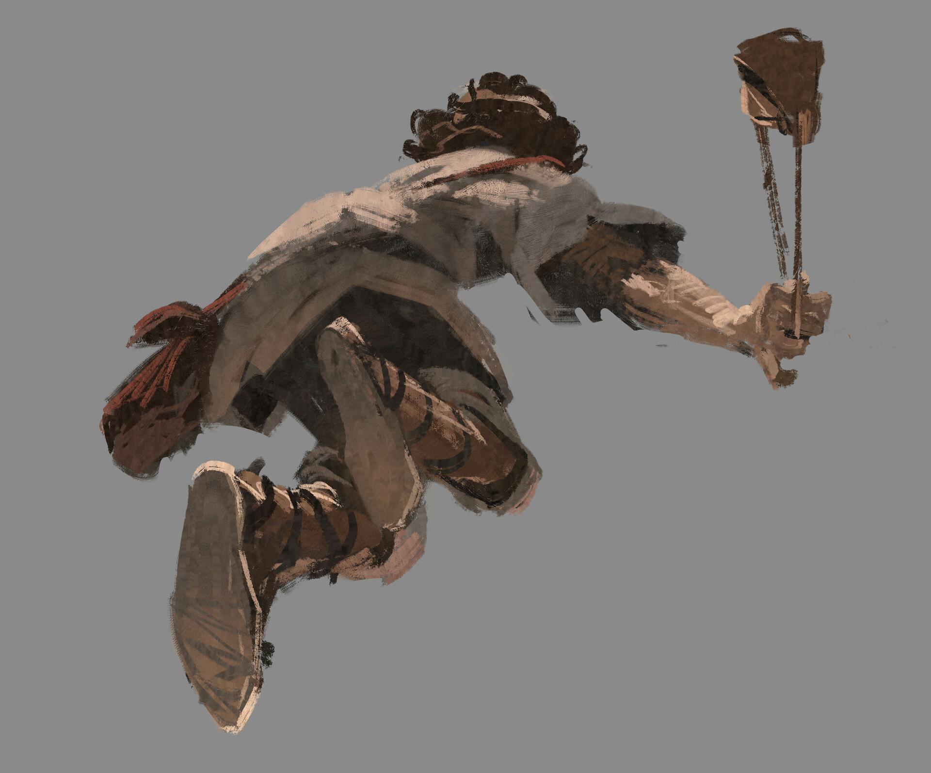 Original paint sketch of David rushing.
