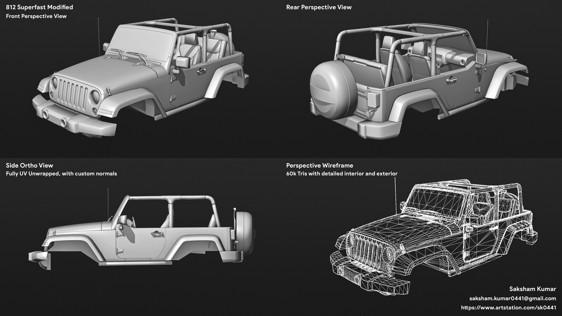 Jeep Wrangler with detailed interior (60k tris)