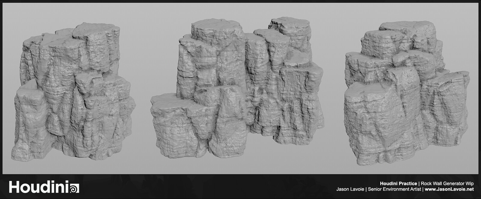 First Pass on a Houdini Rock Wall Generator - Not happy with the results, but learning the process!
