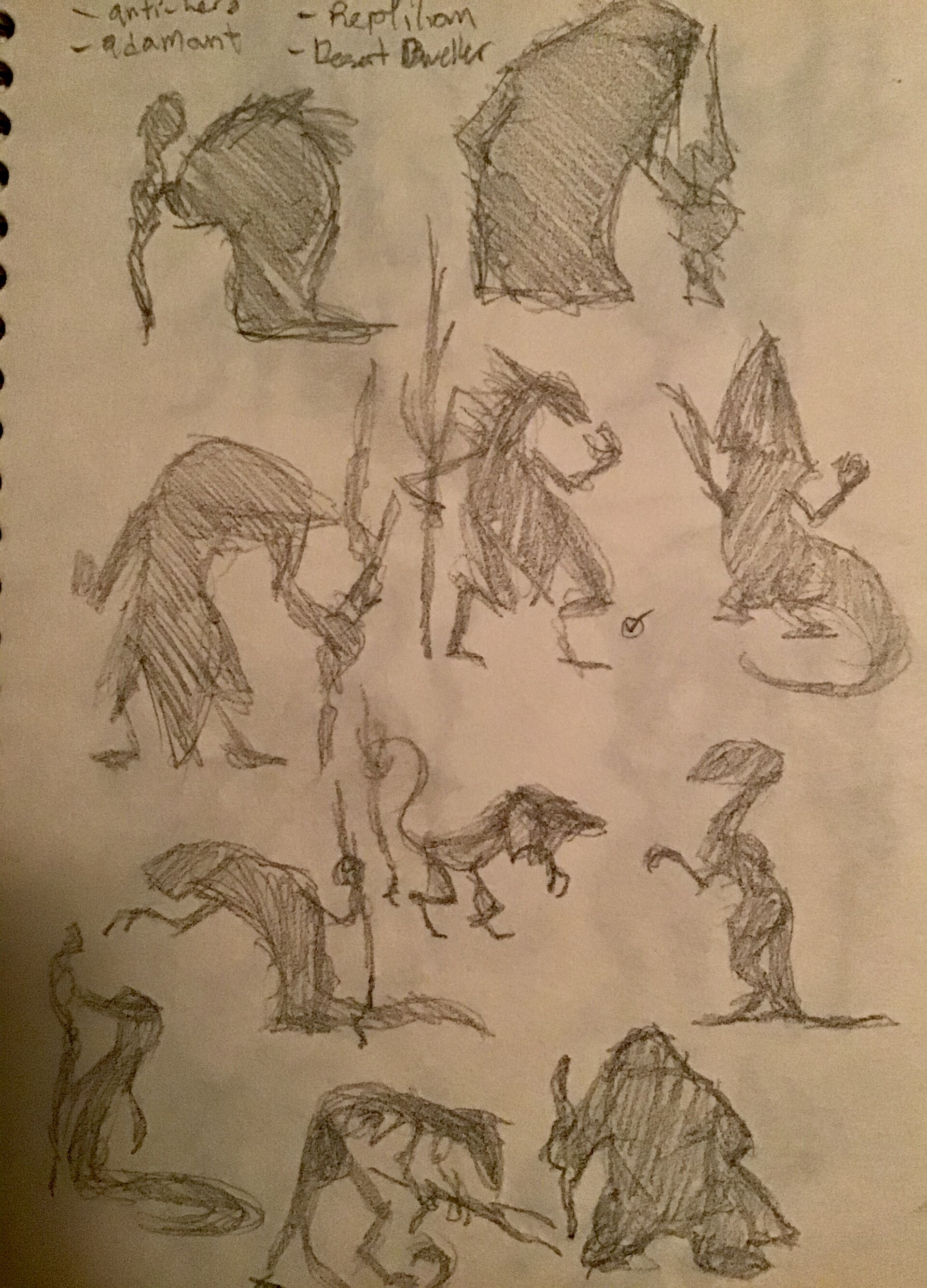 First sketch pass; choosing silhouette
