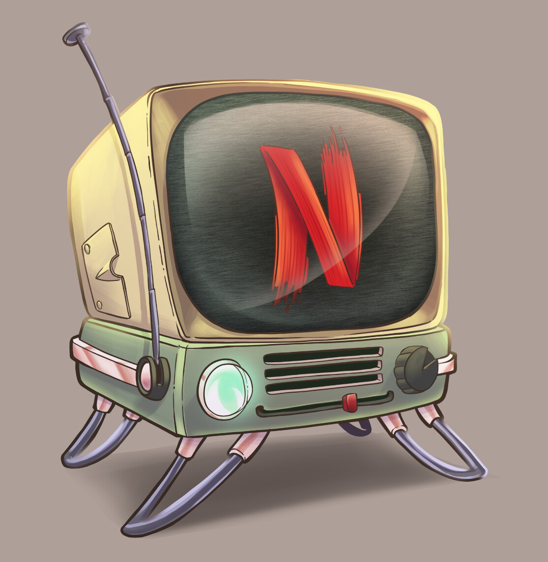 This one is just a study of what it would look like to have a vintage TV set with Netflix... I like the colours, so it went on to the final image.