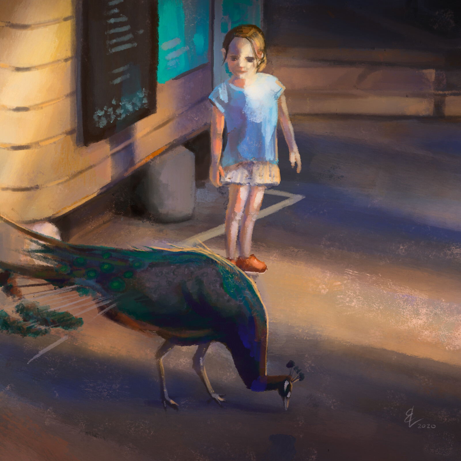 A Peacock and A Girl - Quick Sketch
