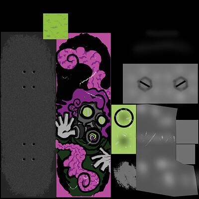 Theo kurokawa skateboard deck design