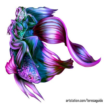 Teresa guido woman riding a fish by teresaguido