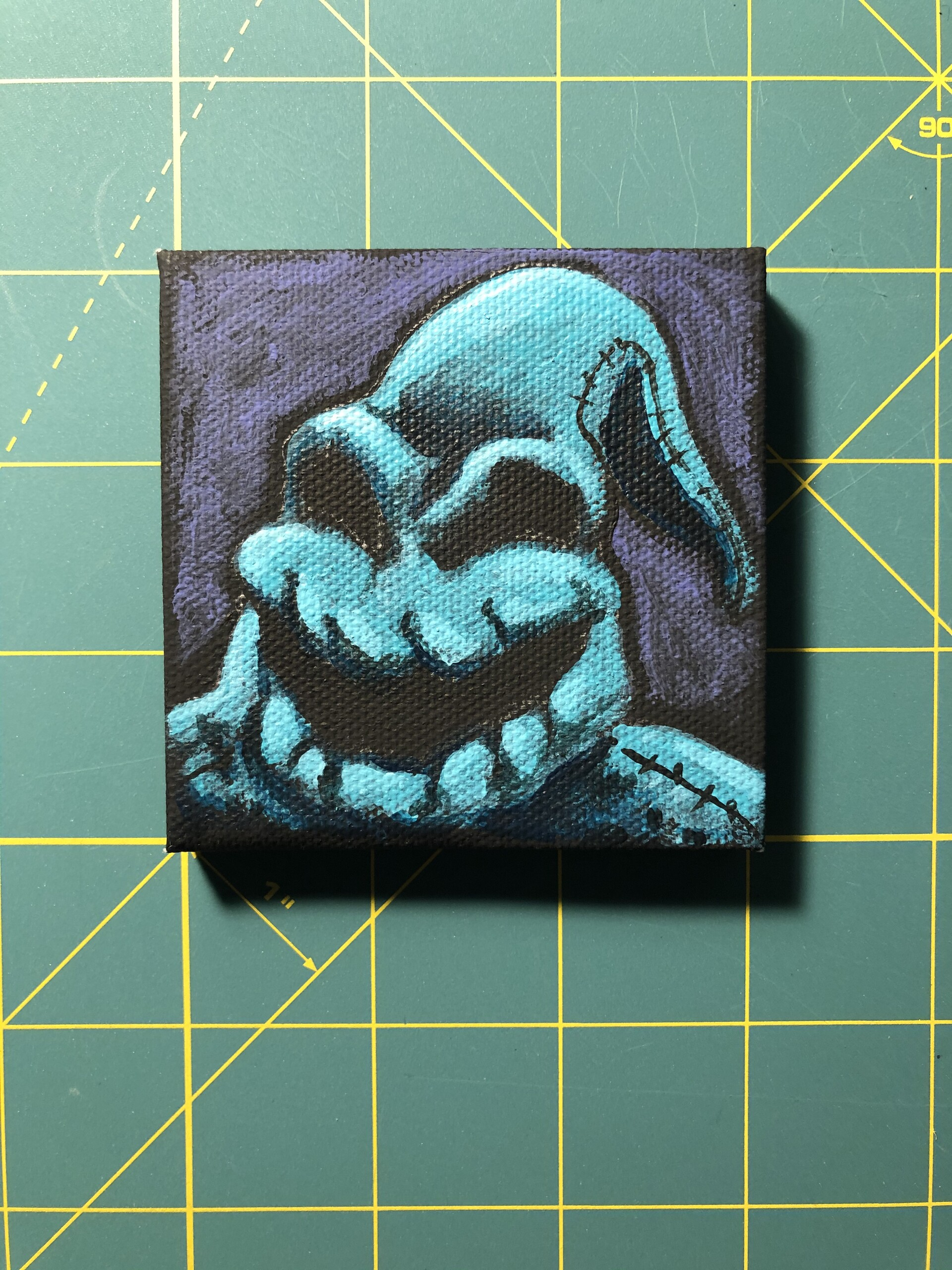 Nightmare Before Christmas, Oogie Boogie. Acrylic paintings on black mini canvas, 3x3 in.