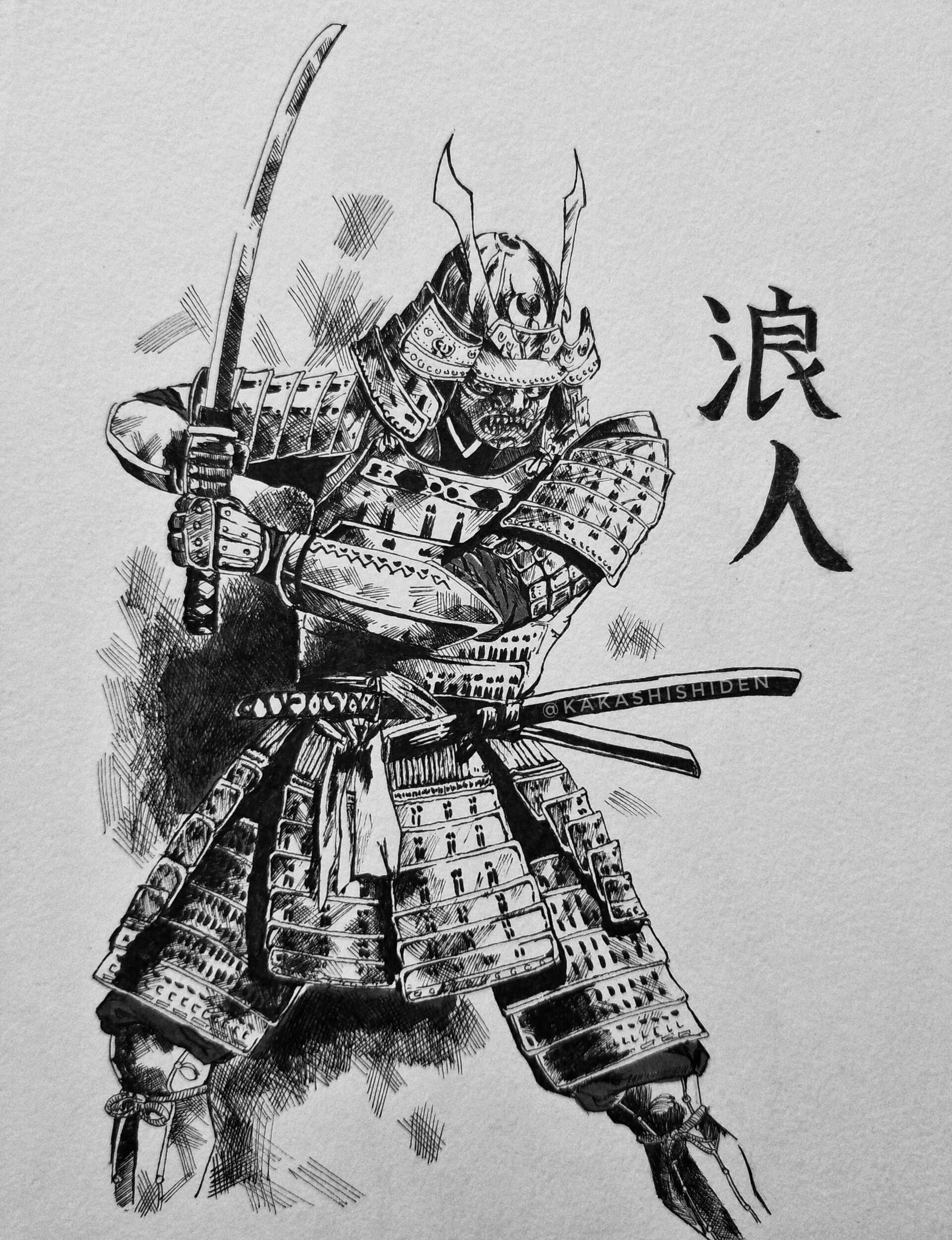 Artstation Samurai Drawing Crosshatch Achurado Jonathan Hernandez