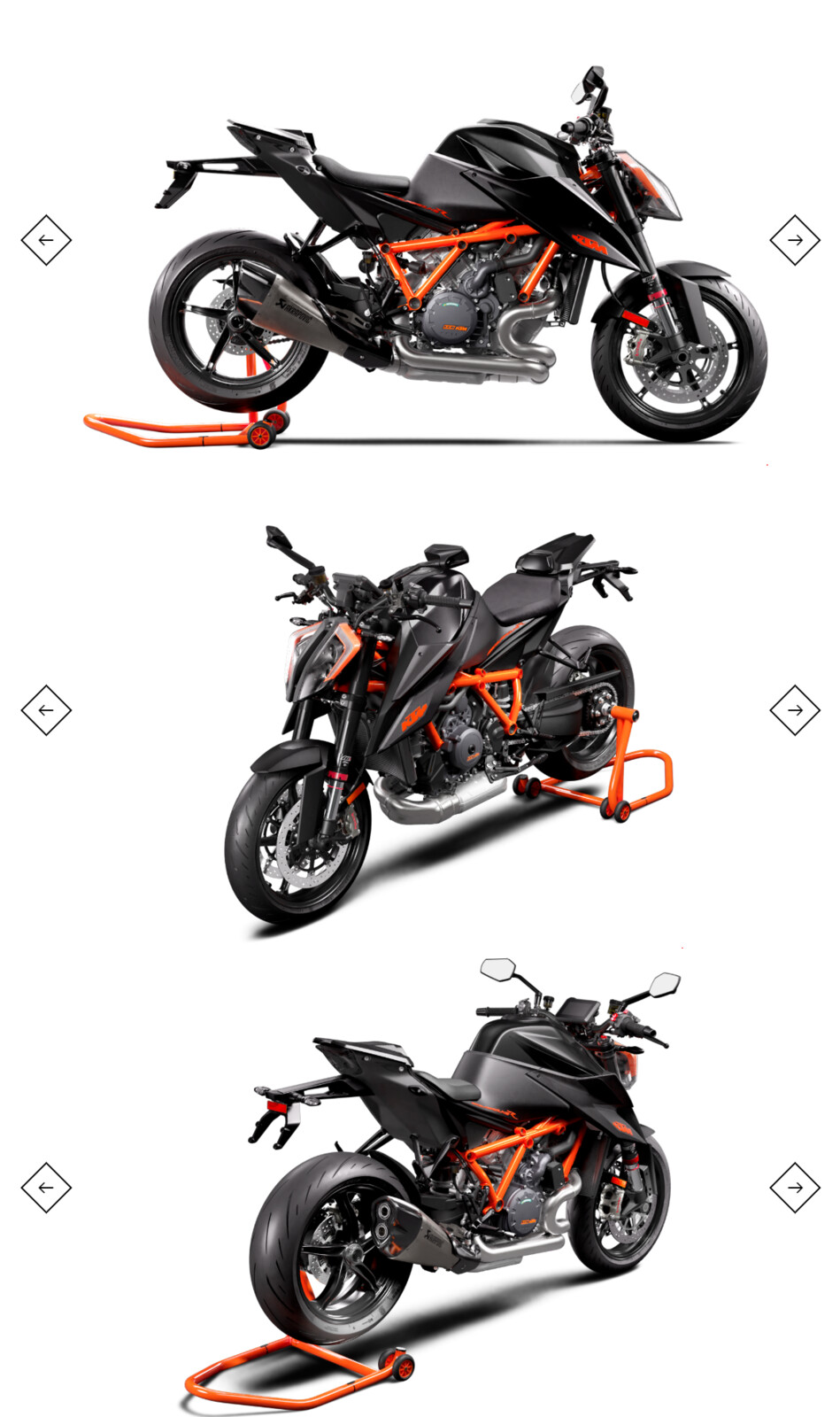 screenshots of the 2020 KTM 1290 SUPER DUKE R configurator