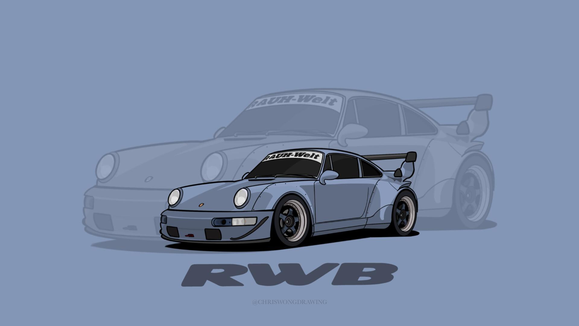 Artstation Rwb Porsche Illustration Wallpaper 1920x1080 C W