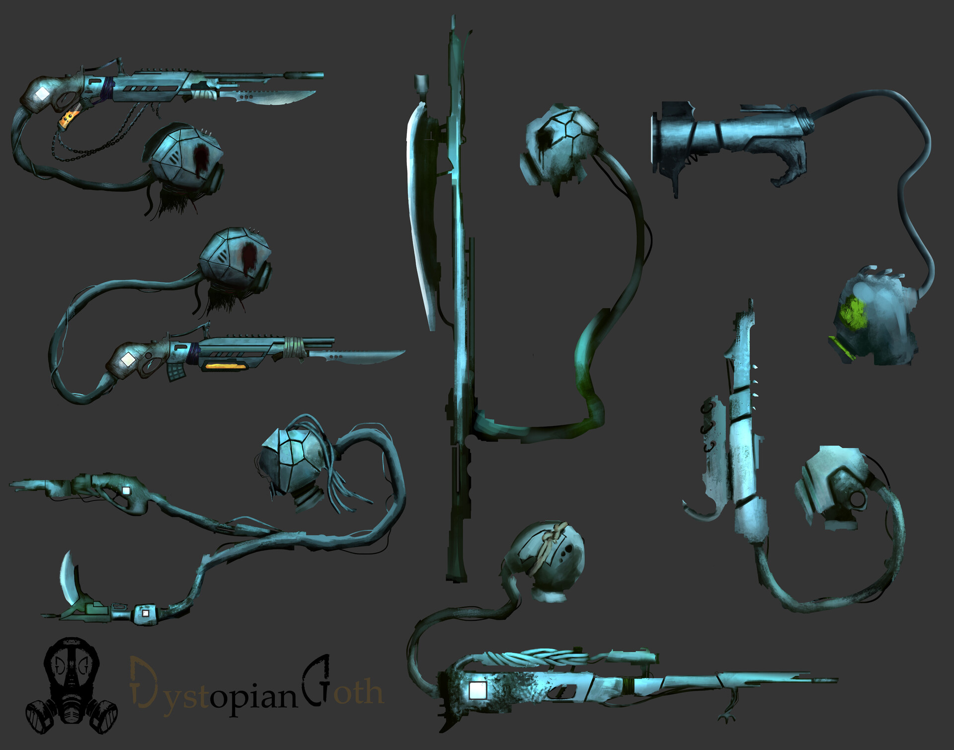 Iterative weapon designs created for Dystopian Goth | Weapons Augmented