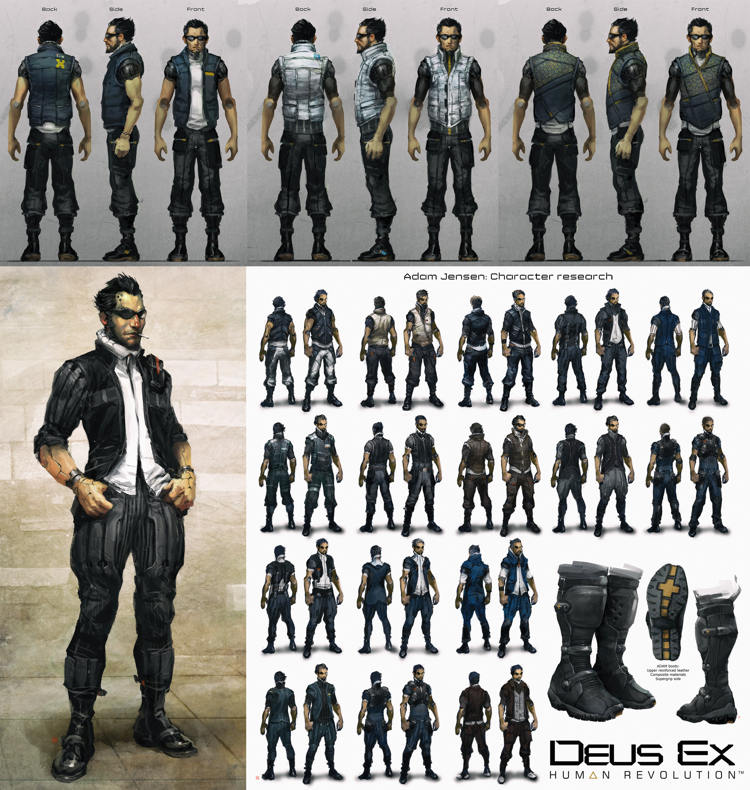 Adam Jensen early silhouette research... ok ok I realized how terrible my character proportions were aouch!