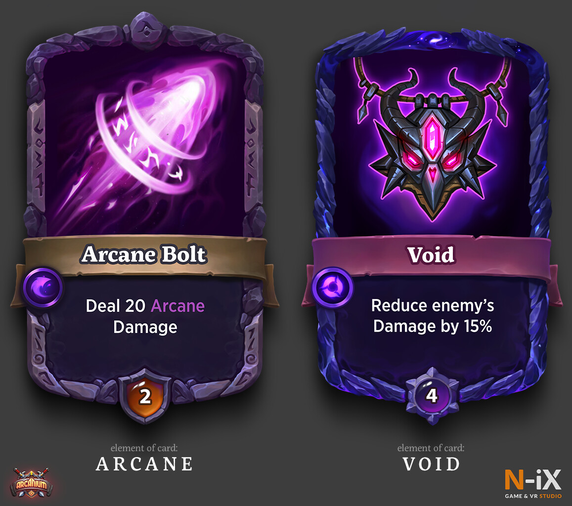 Example of hero ability cards' artworks divided by its element