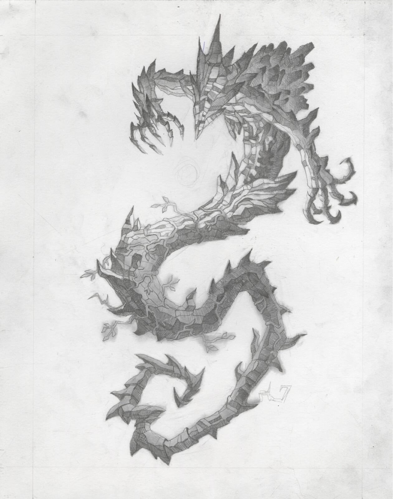 Graphite illustration for Scarlet Shard