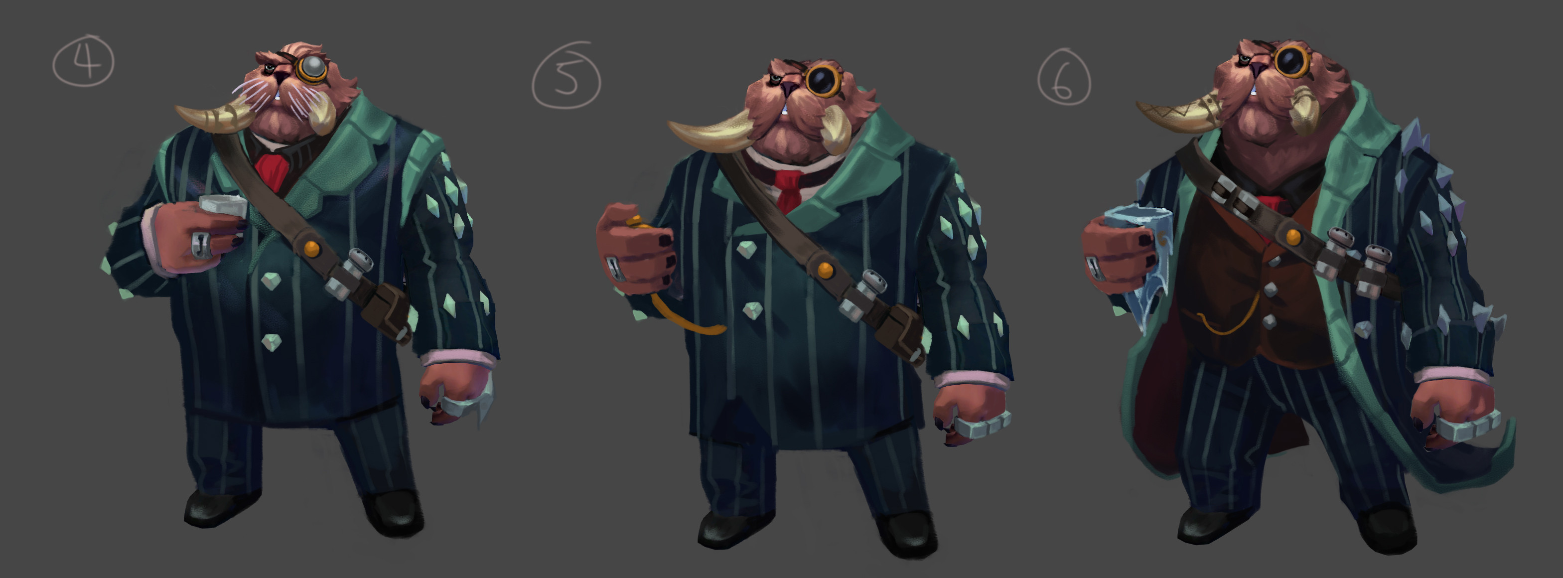 Concepting some Jull visual development Exploration - revamping his look,  clarify his clothing with his lore.  Grizzly Bear/Walrus mob boss with a nautical background is what I got to start with.