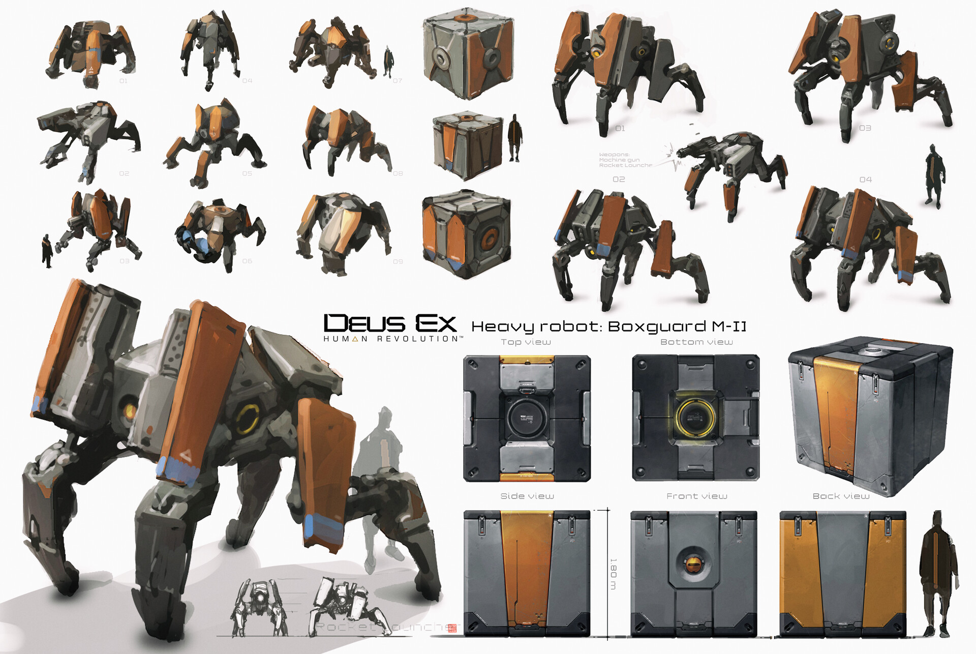 At some point I proposed an idea for a robot which could be self-stored as a box and transported anywhere when needed. It became the iconic Boxguard. early explorations and conceptual sketches...
