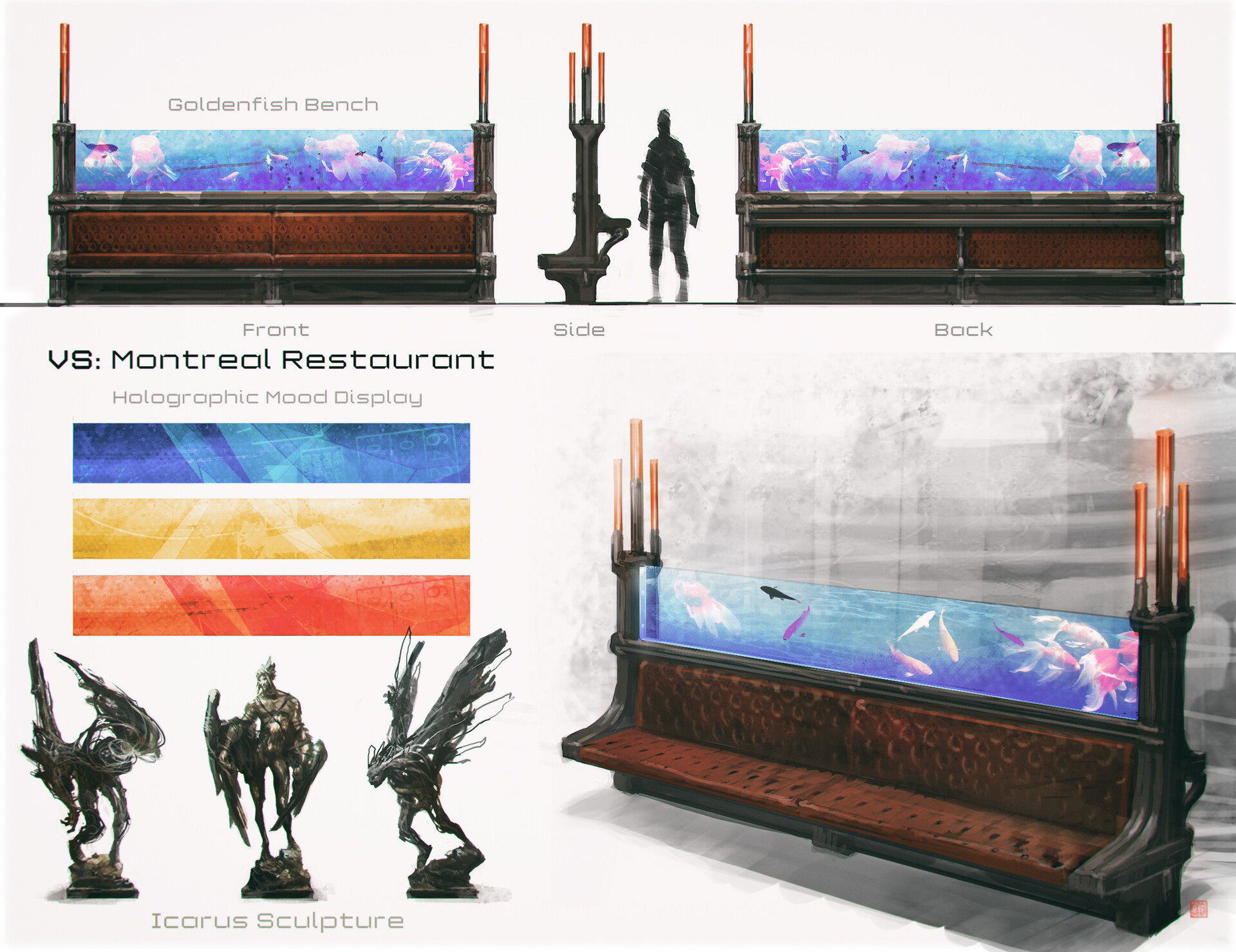 Some props from the Montreal hub that was cancelled (bench for an old church converted into a fancy restaurant)...