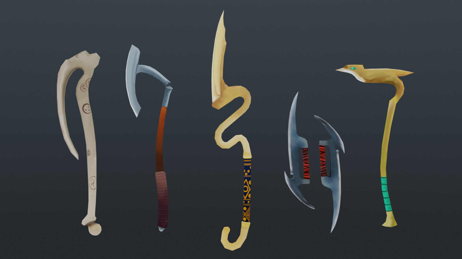 Lowpoly fantasy weapons