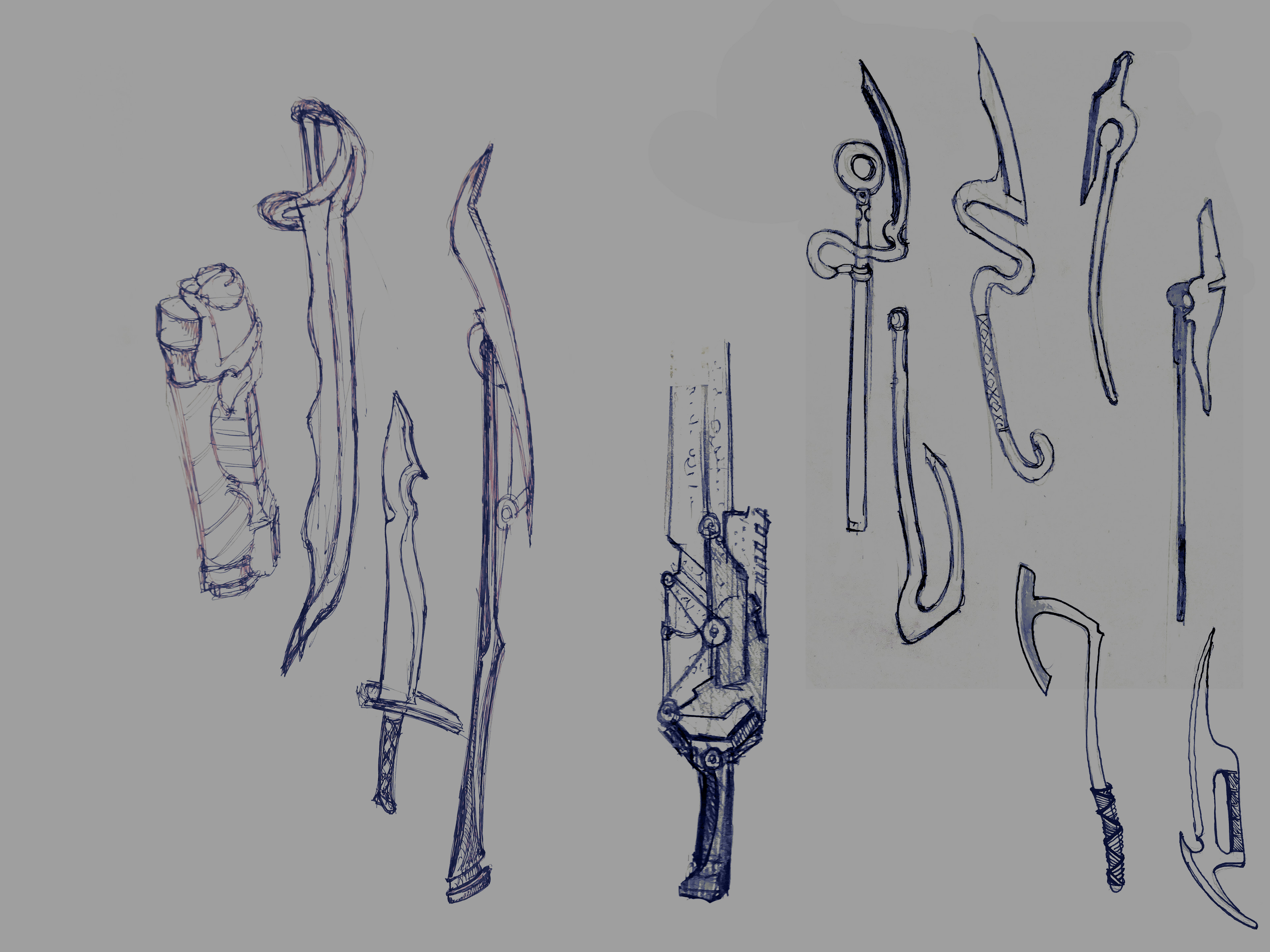 Initial pencil sketches can be seen on the right. I'm not a concept artist, but when I practice drawing, I tend to doodle all sorts of shapes.
