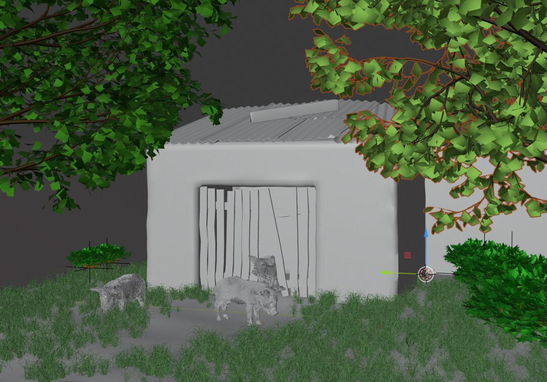Blender Screenshot of the three pigs