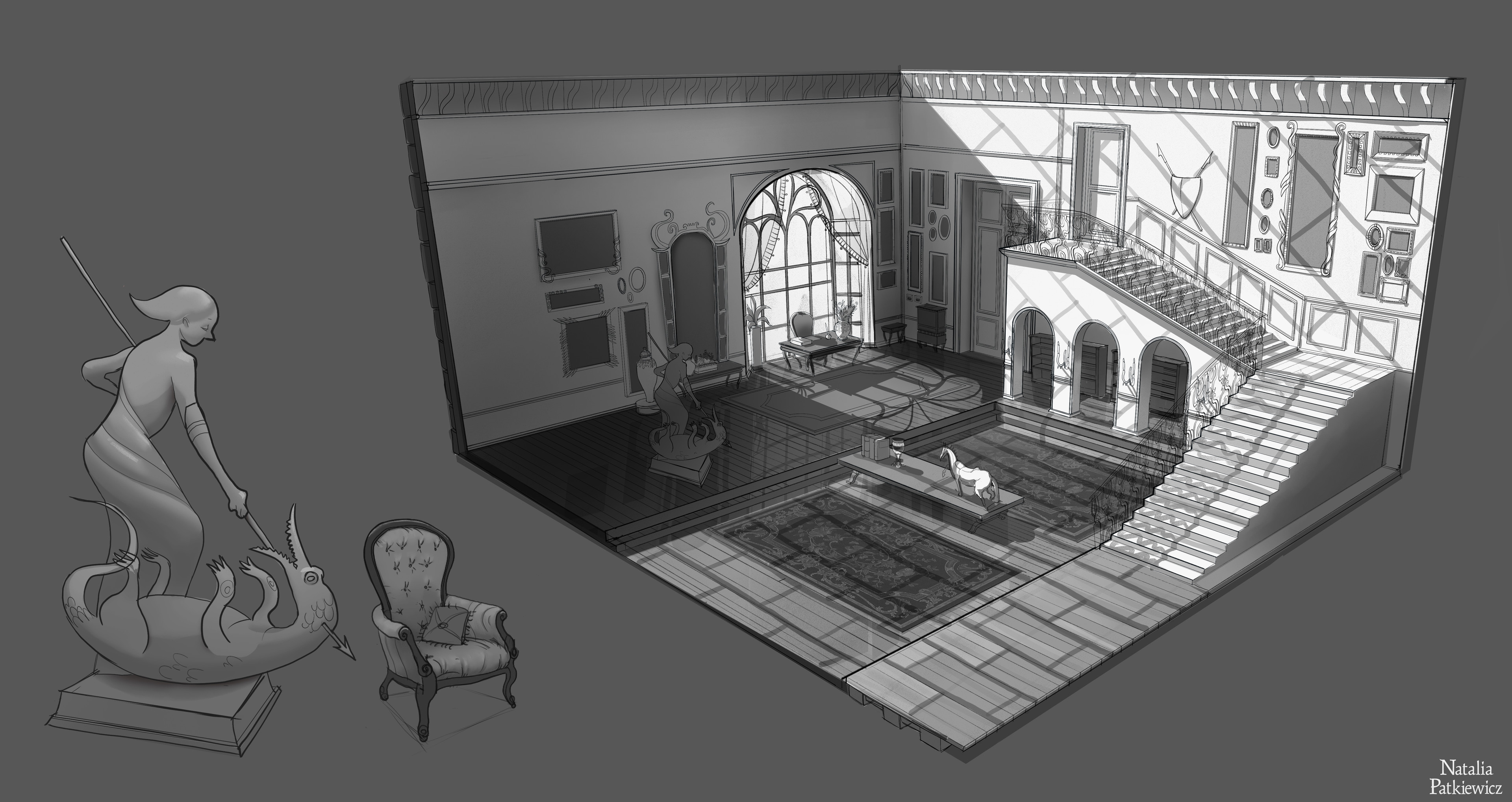 Isometric view onto the set design and prop callout