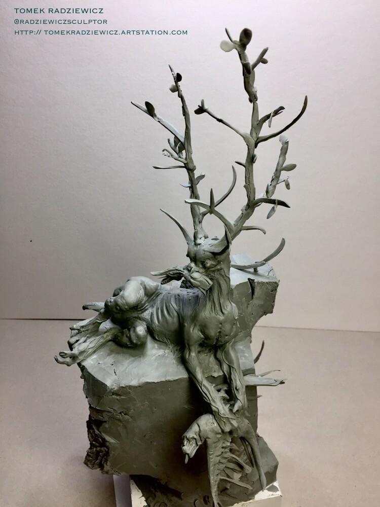 Creature on the rock. Diorama.