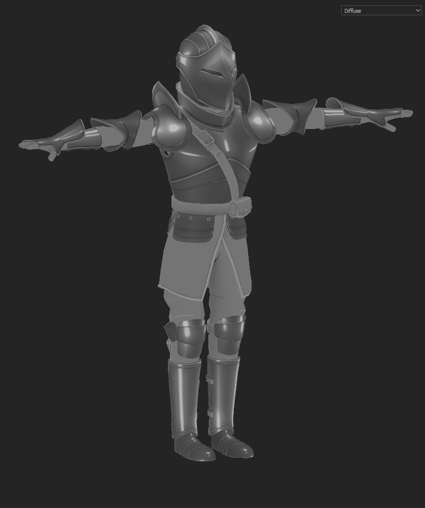 I then duplicated the light group and blurred one copy to get the softer falloff on the armor.