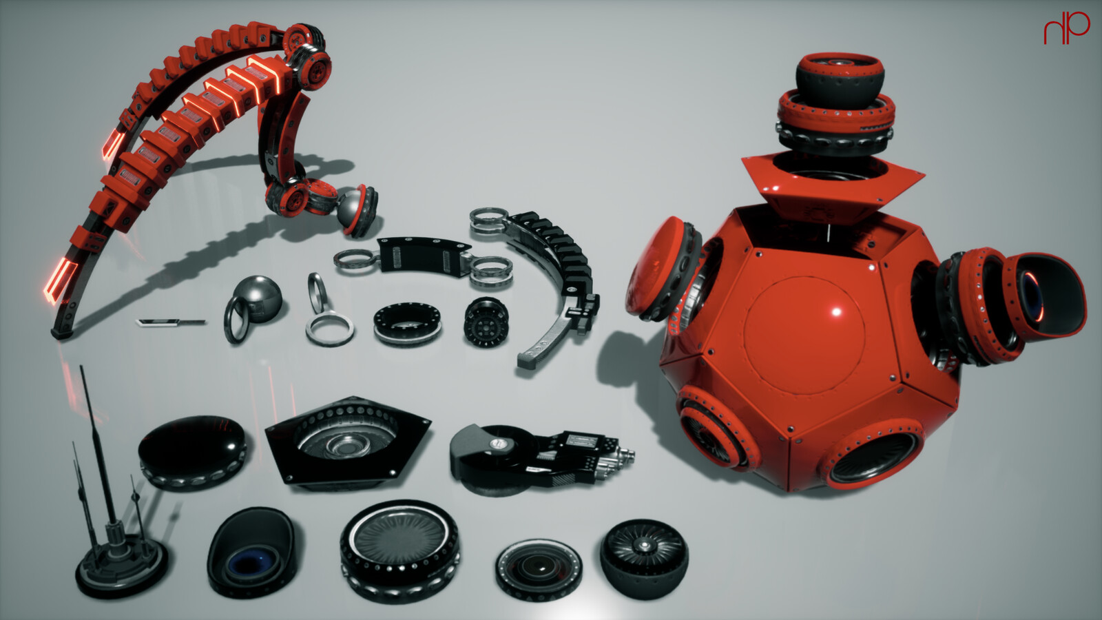 Modular asset kit coordinated with an HDA in Houdini Engine.