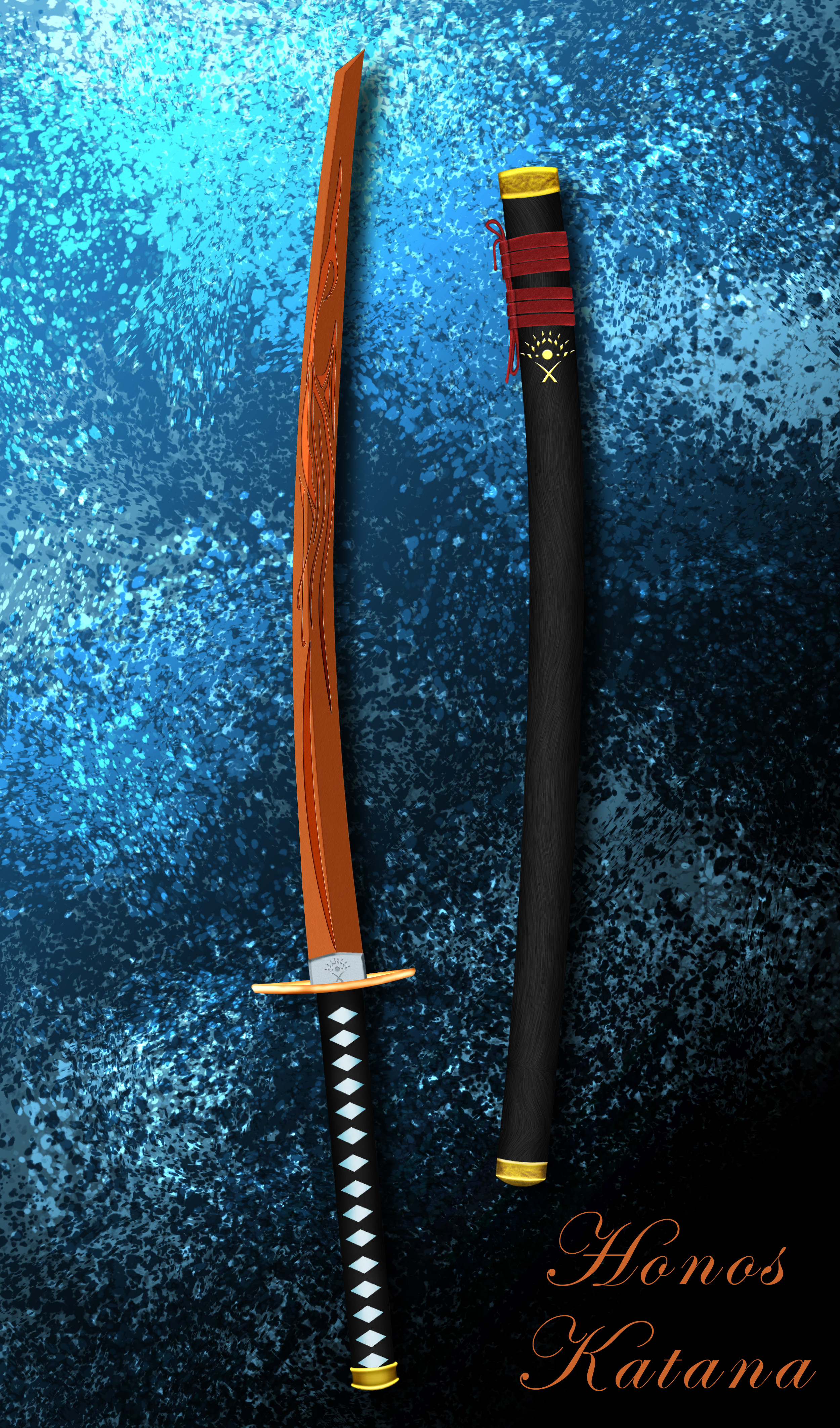 Completed Katana on Contrast Abstract BG