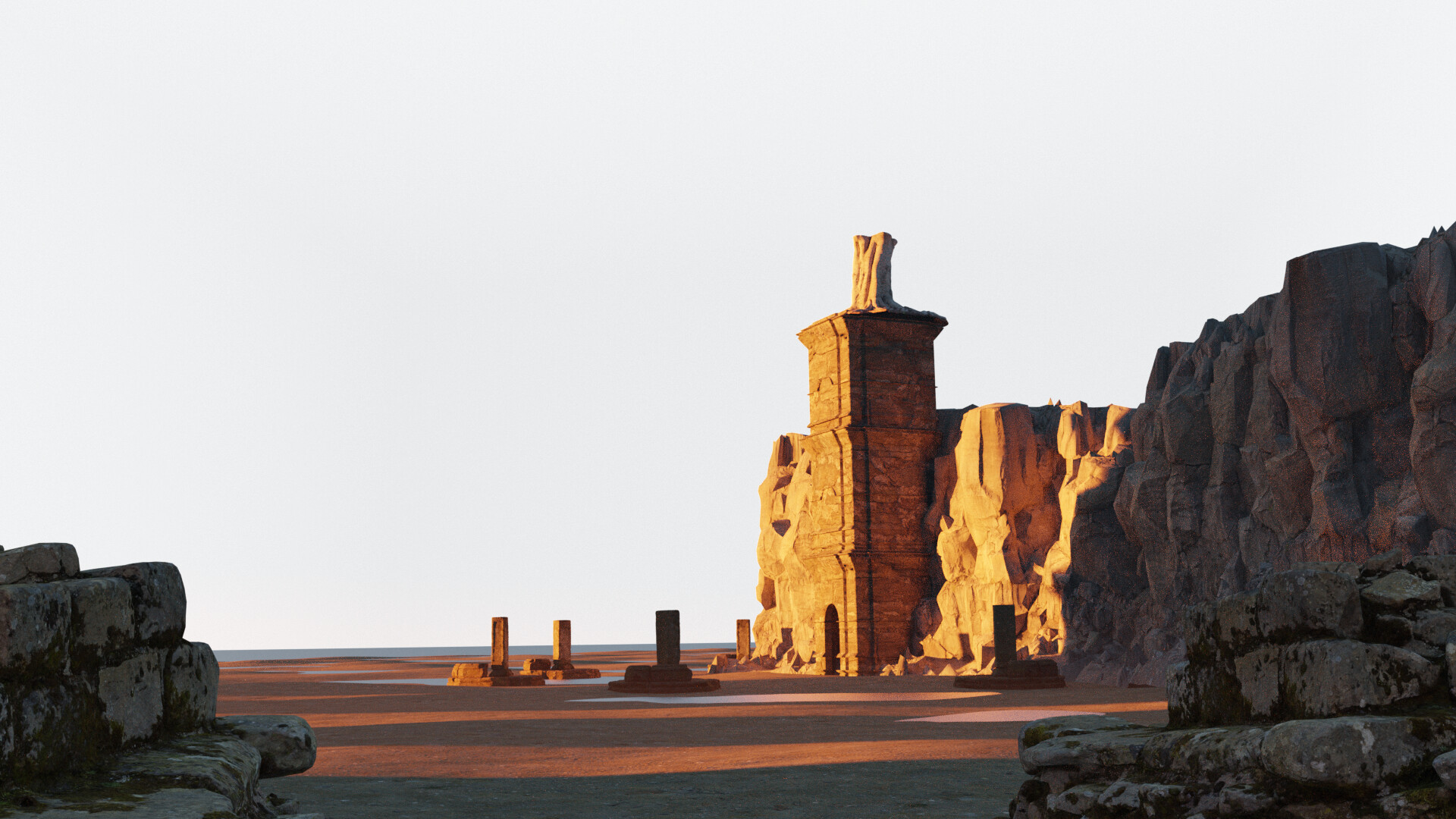 decided on only one tower and used some assets from quixel to fill in the scene, going from big>small. Not more then 5 assets were used, since the rest i will be painting later or introduced too much detail.